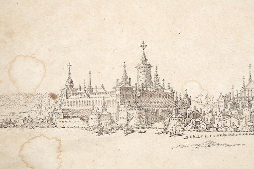 Unik teckning av Stockholm från 1600-talet. Detalj: Slottet