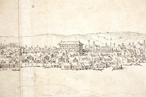 Unik teckning av Stockholm från 1600-talet. Detalj: På platsen för nuvarande Hötorgscity låg den inhägnade beridarebanan med sin stora byggnad