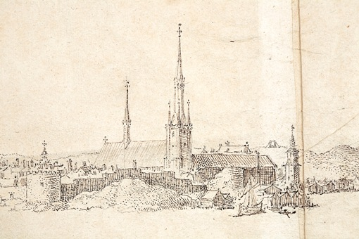 Unik teckning av Stockholm från 1600-talet. Detalj: Riddarholmen