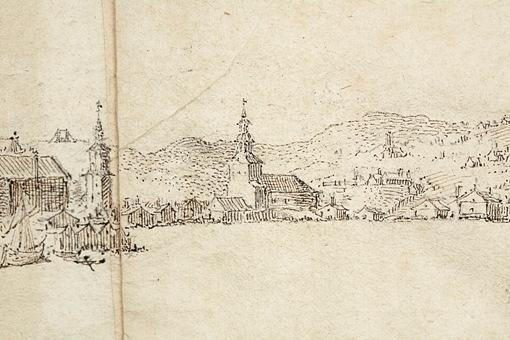 Unik teckning av Stockholm från 1600-talet. Detalj. I bildens mitt yttre söderport som låg på platsen för den nuvarande trafikanläggningen Slussen