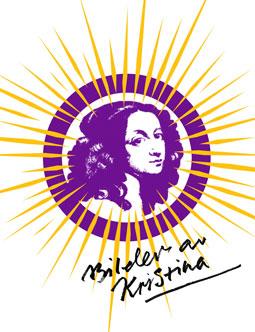 Symbolen för utställningen Bilder av Kristina har gjorts av de grafiska formgivarna BankerWessel.