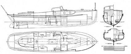 Ruffmotorbåt 9,00x2,10, ritad av C G Pettersson