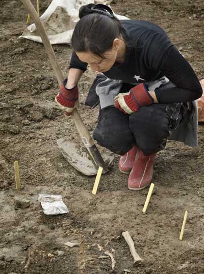 Skelettfynd vid utgrävningen