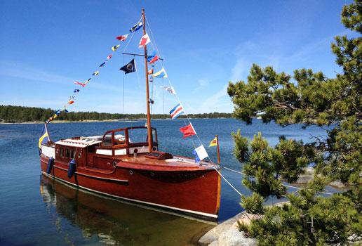 Motorbåten Eystra är en klassisk C G Pettersson-konstruktion från 1931. Foto: Birgitta Werner