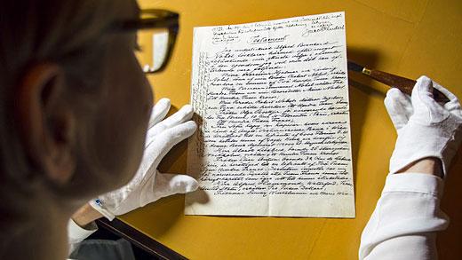 Alfred Nobels testamente. Foto: Niklas Elmehed