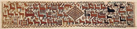 Överhogdalsbonaderna. Bonad I A. Snärjväv, 184 x 35 cm. Foto: Jamtli