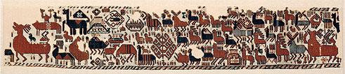 Överhogdalsbonaderna. Bonad II. Snärjväv, 184 x 37 cm. Foto: Jamtli
