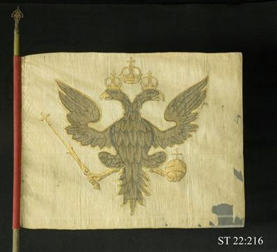 Rysk fana, tagen under Karl XII krig mot Ryssland vid Sagnits 1702