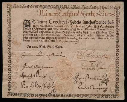 Kredtitivsedel utgiven 1666 av Stockholms Banco