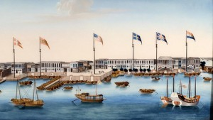 Canton Harbor and Factories with Foreign Flags, c. 1805. Peabody Essex Museum. Foto: Jeffrey R. Dykes