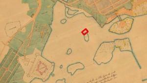 Utgrävningsområpdet på en äldre karta. Kalmar läns museum