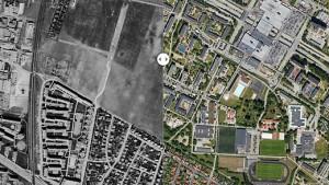 Stadsdelen Rosengård i Malmö för 60 år sedan och i dag. Foto: Lantmäteriet, Eniro