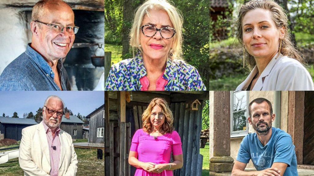 Årets uppställning i Vem tror du att du är?: Lennart Jähkel, Ewa Fröhling, Eva Röse, Leif Mannerström, Martina Haag och Stefan Holm. Foto: SVT