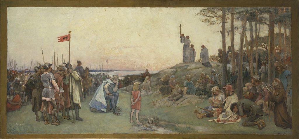 Gustaf Cederström: Ansgar förkunnar kristendomen. Andra förslaget till väggmålning i Nationalmuseums övre trapphall (1889)