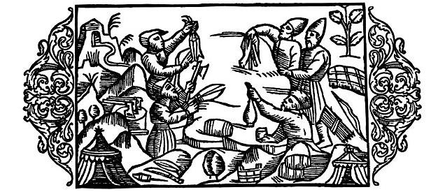 Olaus Magnus Historia om de nordiska folken. Bok 4 – Kapitel 5 – Om varubyte utan penningar mellan birkarlar och samer. – Utgivningsår 1555.