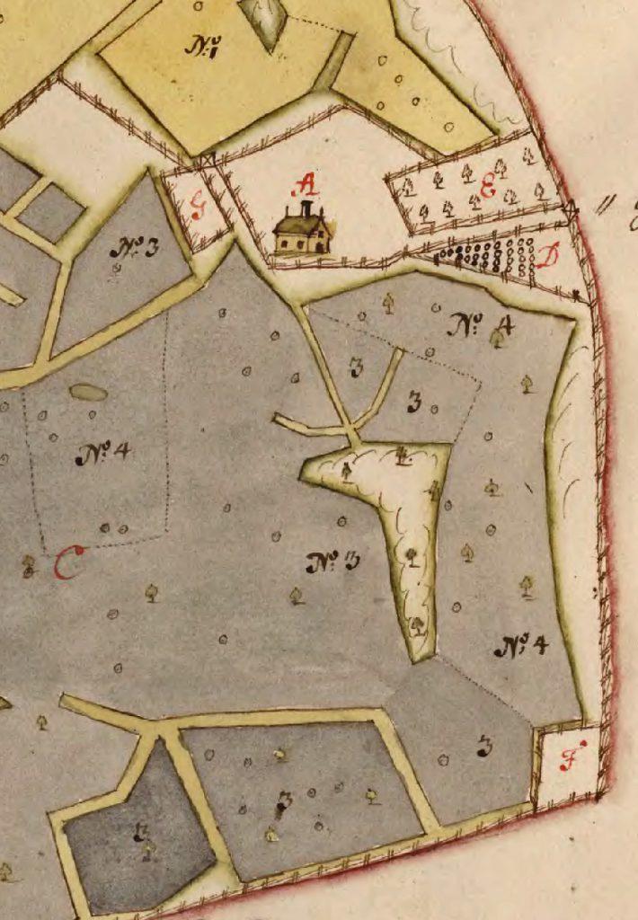 År 1692 hade gården Labbarn i Ängsö socken i Västmanland en humlegård (D), en trädgård (E), en kåltäppa (F) och en hamptäppa (G). LSA T10:8. Källa: Lantmäteriet.
