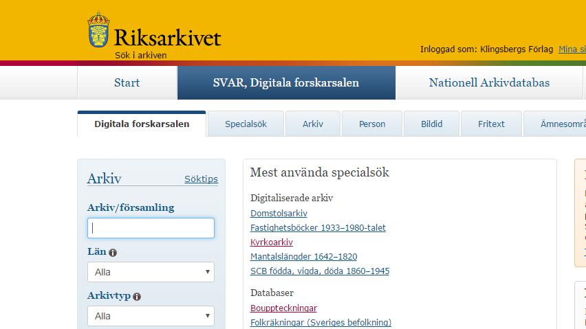 SVAR - Riksarkivets digitala forskarsal