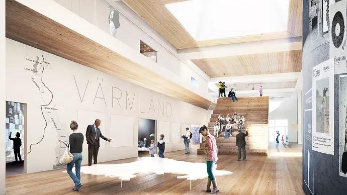 Visionsbild över framtidens Värmlands Museum. Illustration: White Arkitekter