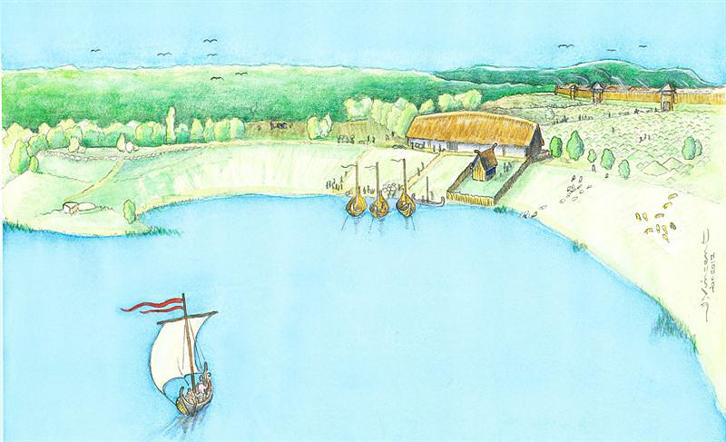 Illustration av hur den vikingatida stormannagården kan ha sett ut. Illustratör: Jacques Vincent