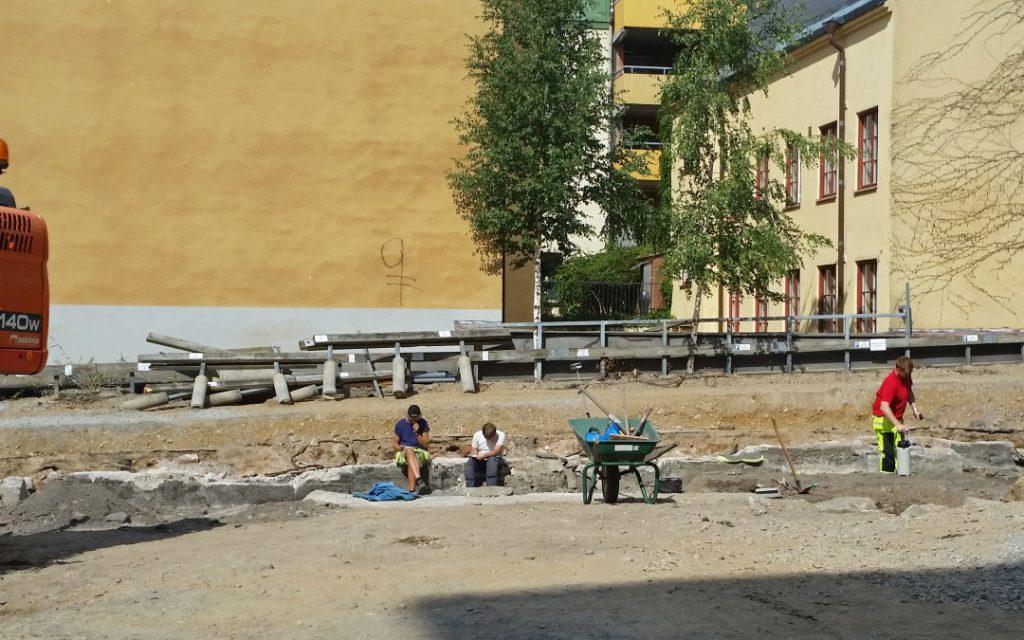 Arkeologisk undersökning kvarteret Tullhuset i Norrköping 2015. Foto: Peter Kristensson/Klingsbergs Förlag
