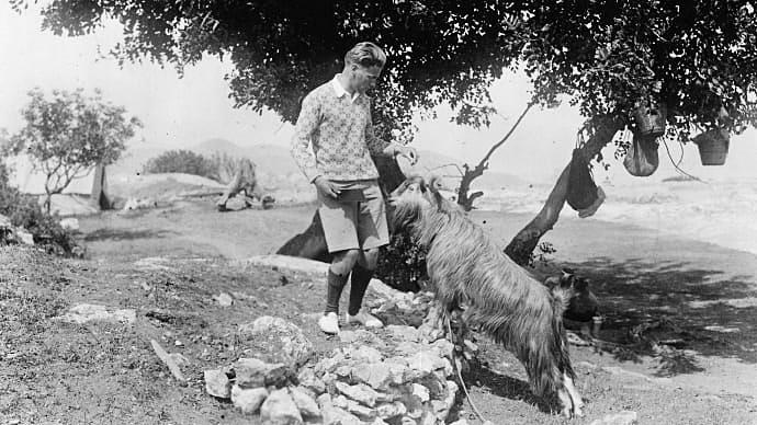 Alfred Westholm och geten Filoxenos II. Vouni. Svenska Cypernexpeditionen 1927–1931.