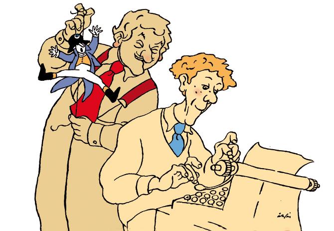 Hasse Alfredson och Tage Danielsson. Illustration: Per Åhlin
