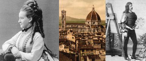 """Kompositören Helena Munktell, vy över Firenze (Florens) och Carl Hagman, huvudrollsinnehavare i """"I Firenze"""", vid Operans uppsättning 1889."""