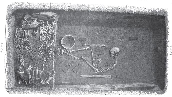 Så här kan graven på Birka ha sett ut där den kvinnliga krigaren begravdes. Gravplanen är skapad av Evald Hansen och baserad på originalplanen från grav Bj 581 från Hjalmar Stolpes utgrävningar på Birka under slutet av 1800-talet .