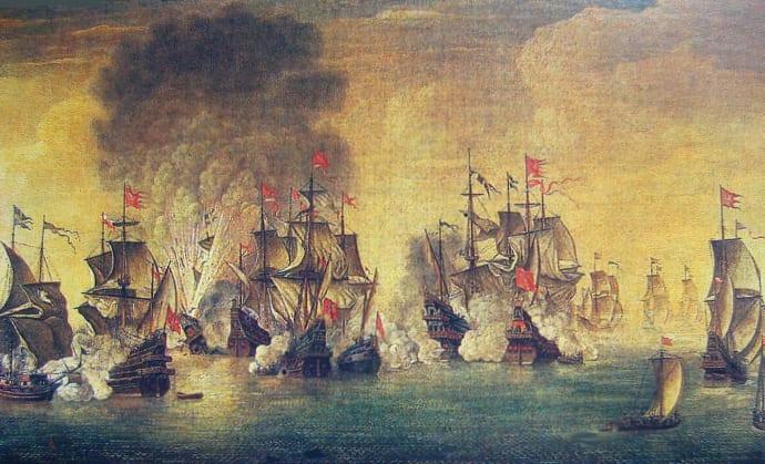 Stefan Płużańskis målning av slaget på Danzigs redd 1627, där Scepter kan ha varit med.