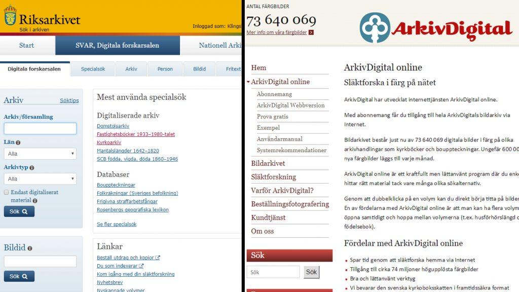 Skärmdumpar från SVAR och ArkivDigital.