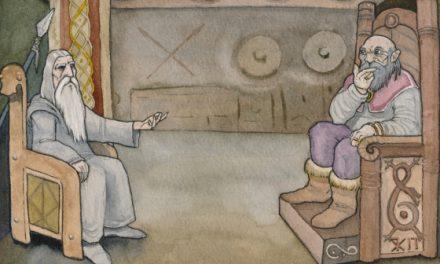 Krig och fred mellan gudar och jättar i en fornnordiska hallar