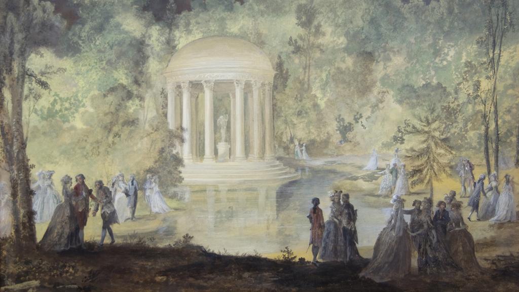 """""""Hovfest i Trianons park"""", av Niclas Lafrensen d.y. Målningen föreställer en fest som Marie Antoinette ordnade till Gustav III:s ära och tillhör Östergötlands museum."""