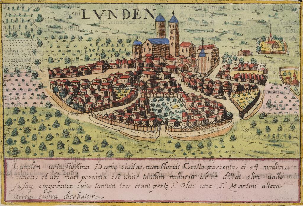 En av de äldsta kända bilderna av Lund, ett kopparstick efter Braun-Hogenberg från ca 1600.