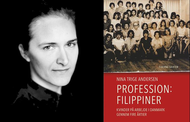 Nina Trige Andersen och omslaget till hennes bok. Foto: Tine Sletting