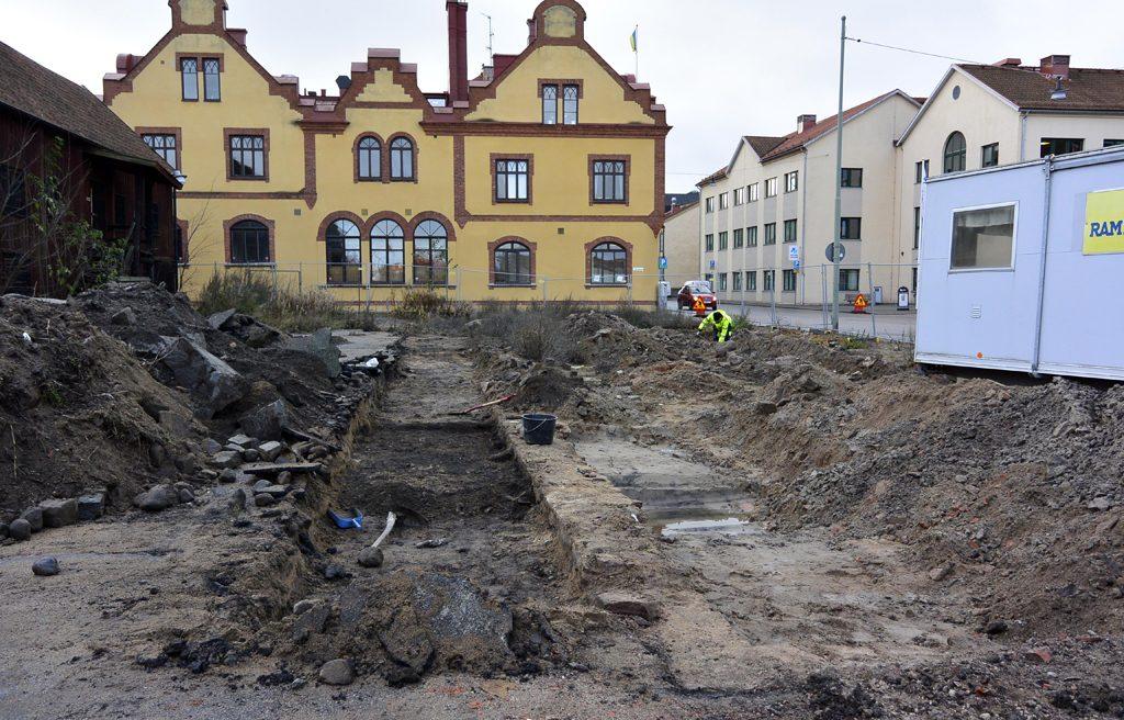 Arkeologisk utgrävning vid Handelshamnen i Karlskrona. Foto: Blekinge Museum