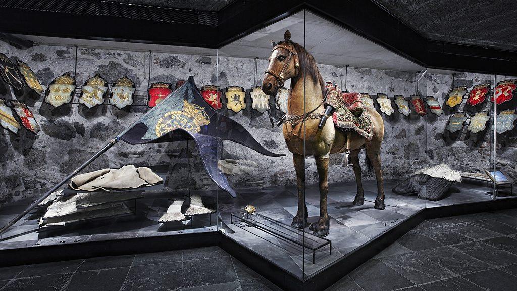Gustav II Adolfs häst Streiff i Livrustkammaren. Foto: Erik Lernestål
