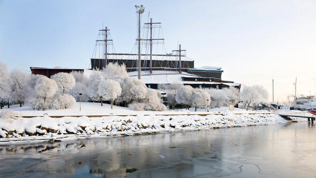Vasamuseet i vinterskrud. Foto: Anneli Karlsson/Statens maritima museer