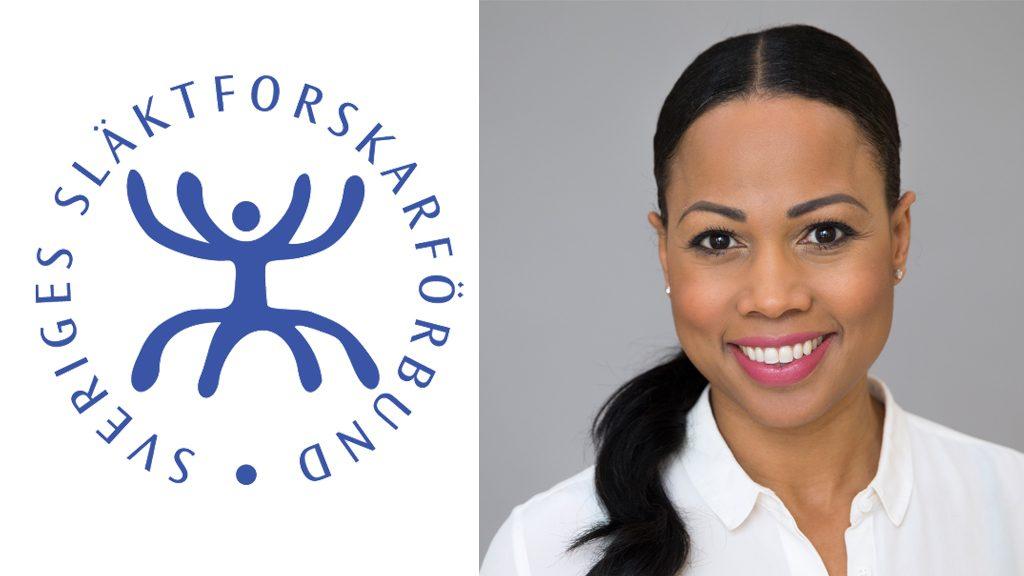 Släktforskarförbundets logotyp + kulturminister Alice Bah Kuhnke. Foto: Kristian Pohl/Regeringskansliet