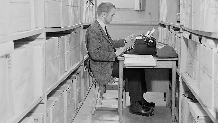 Gamla Riksarkivet innan digitaliseringens tidevarv. Foto: Bengt A Lundberg
