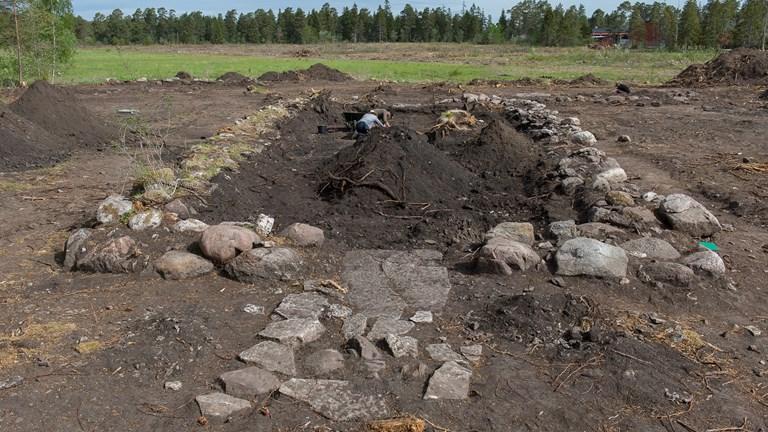 Utgrävning av husgrund på Tofta skjutfält. Foto: Gotlands Museum