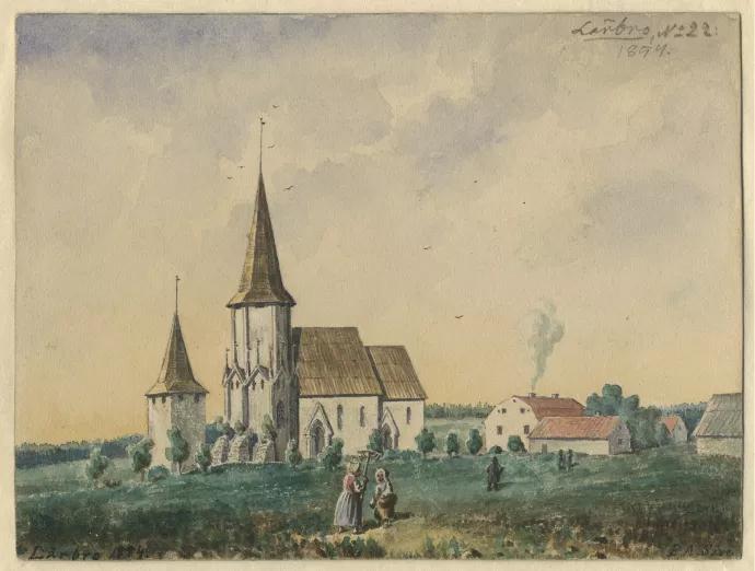 Lärbro kyrka. Akvarell målad av Pehr Arvid Säve 1854.