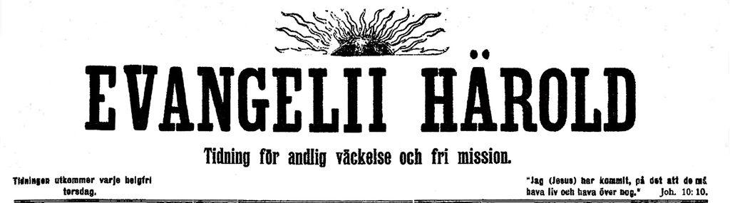 Tidningshuvud från Evangelii Härold