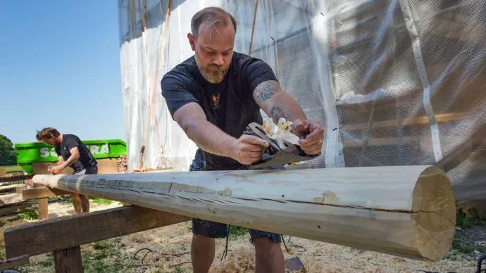 Hantverkare vid restaureringen. Foto: Thomas Carlén