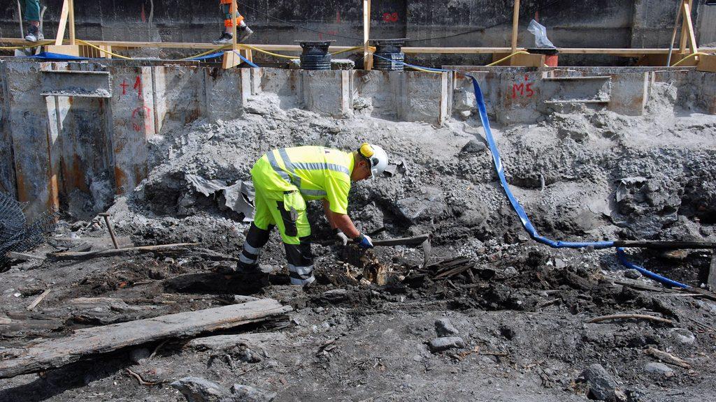 Utgrävningen av skeppsvraket på Djurgården. Foto: Arkeologerna