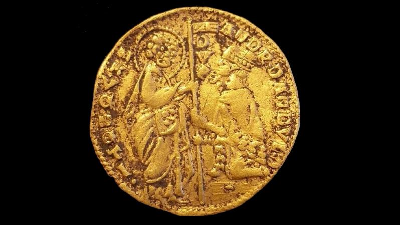 Venetiansk gulddukat upphittad i Mörrum. Foto: Jimmy Juhlin Alftberg/Blekinge museum