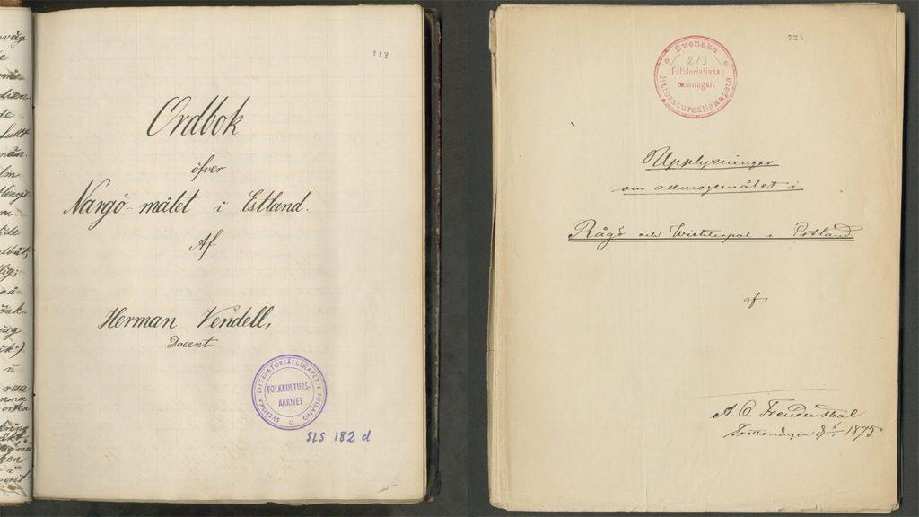 Handlingar ur den estlandssvensk samlingen som återlämnats till Estland.