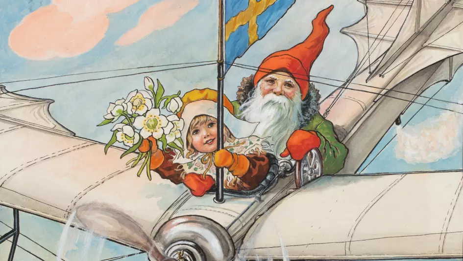 """Jenny Nyström: """"Flygande tomte"""", 1928. Förlaga till Jultomten (utgiven 1891–1934). Akvarell. Beskuren."""
