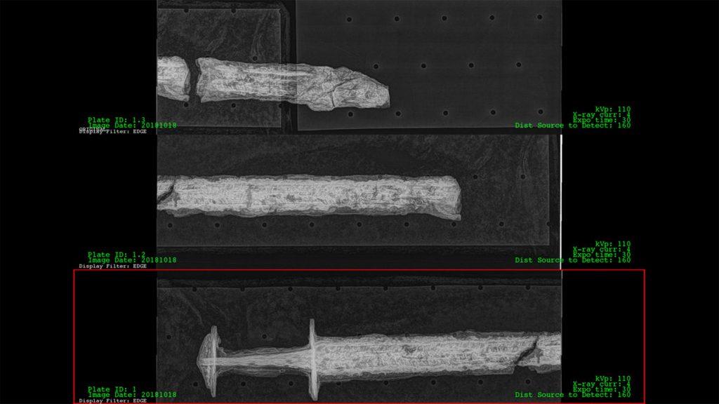 Röntgenbilder på Sagas svärd. Foto: Studio Västsvensk Konservering