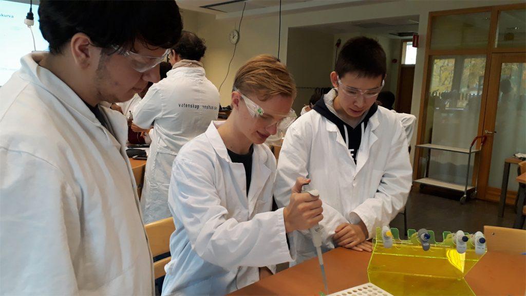 Gymnasieelever från Tullinge gymnasium laborerar i programmet Analytisk kemi och skeppet Vasa. Foto: Lotta Wiker, Statens maritima museer