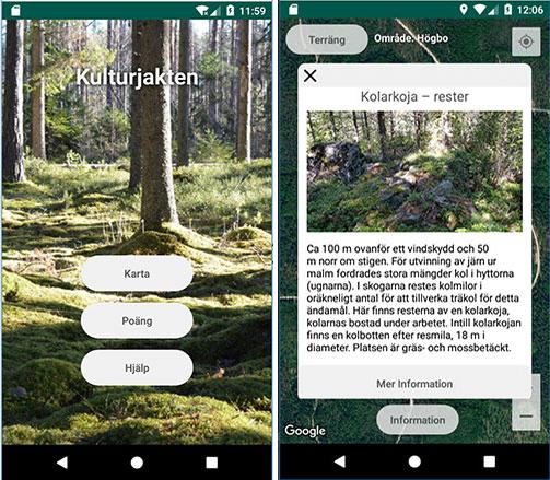 Skärmdumpar från appen Kulturjakte
